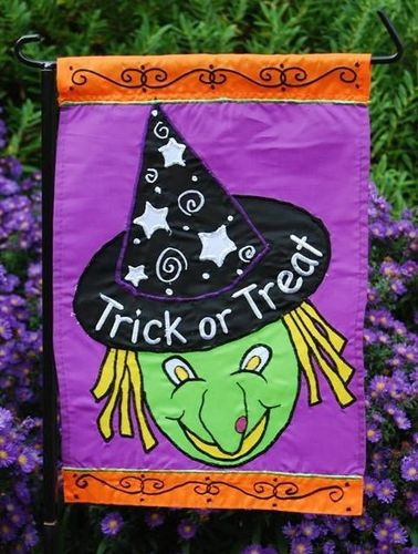 "Trick or Treat Witch Halloween Garden Flag 12""x 18"""