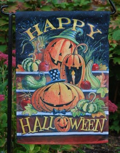 "Happy Halloween Steps Garden Flag 12""x18"""