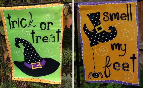 "Trick or Treat Smell My Feet Halloween Garden Flag 12""x18"""