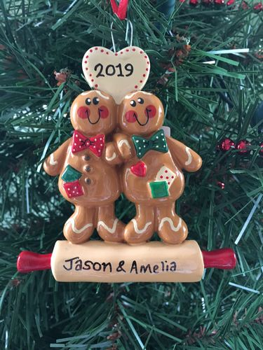 Gingerbread Couple Personalised Christmas Decoration