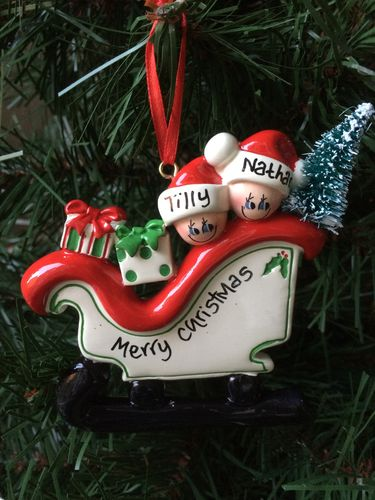 Sleigh Family of 2 Personalised Christmas Tree Decoration
