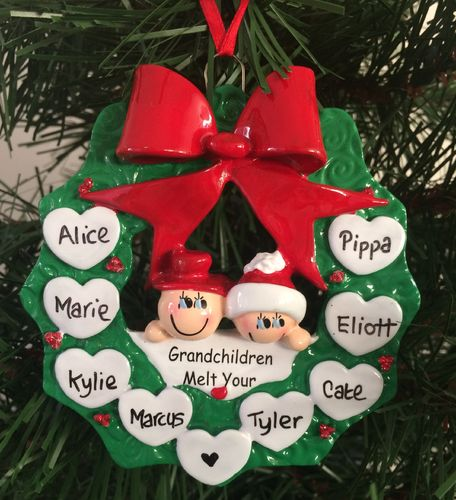 Grandparents Holly Wreath Personalised Christmas Tree Decoration