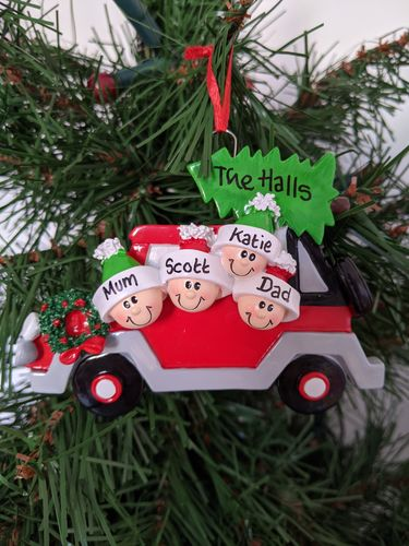 Christmas Tree Car Family of 4 Personalised Christmas Decoration