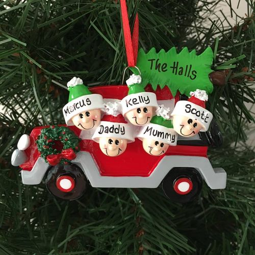 Christmas Tree Car Family of 5 Personalised Christmas Decoration