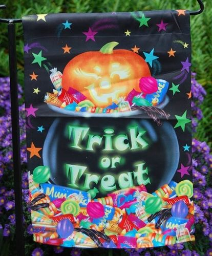 "Cauldron of Treats Halloween Garden Flag 12""x18"""