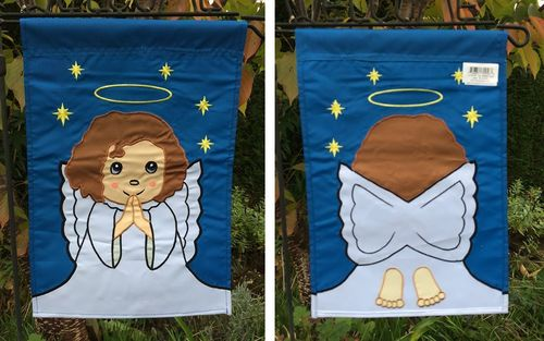 "Blessed Angel Applique Christmas Garden Flag 12""x18"""