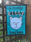 "Pretty Kitty Lives Here Applique Garden Flag 12""x 18"""