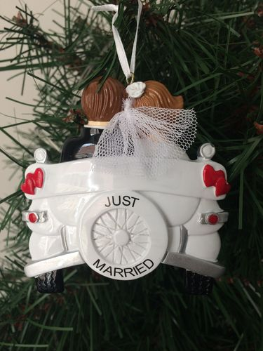 Just Married Vintage Car Wedding Personalised Christmas Decoration