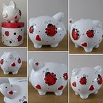 "Ladybird ""Love Bug"" Personalised Ceramic Piggy Bank"