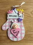 Baby Girl Pink Mitten Personalised Hanging Decoration