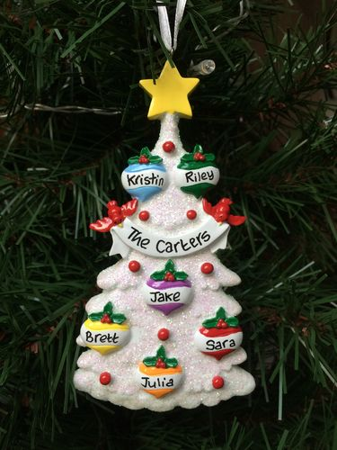White Glitter Tree Family of 6 Personalised Christmas Decoration