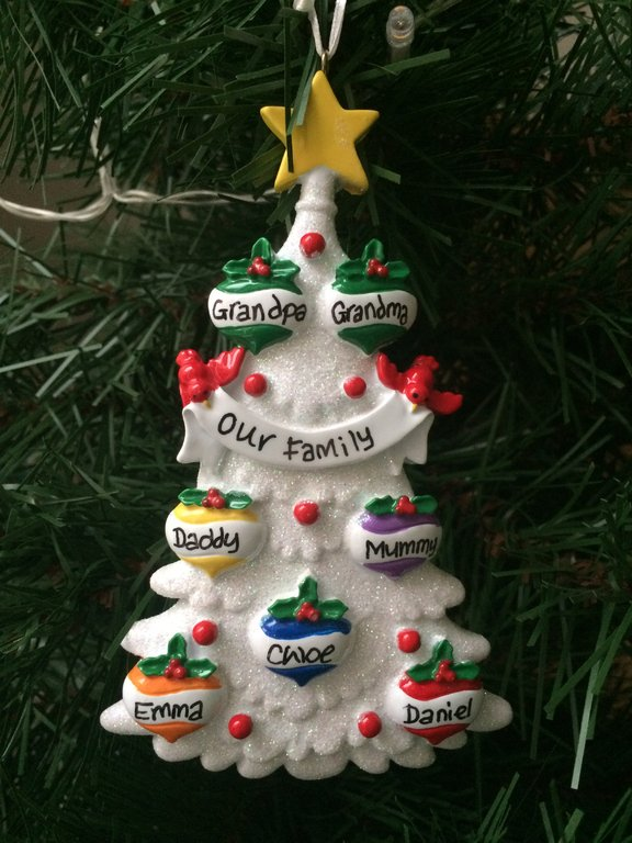 White Glitter Tree Family Of 7 Personalised Christmas Decoration