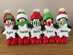 Penguin Snowflakes Family of 5 Tabletop Personalised Christmas Decoration