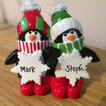 Penguin Snowflakes Couple Tabletop Personalised Christmas Decoration