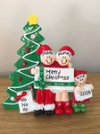 Christmas Morning Family of 3 Table Top Personalised Christmas Decoration
