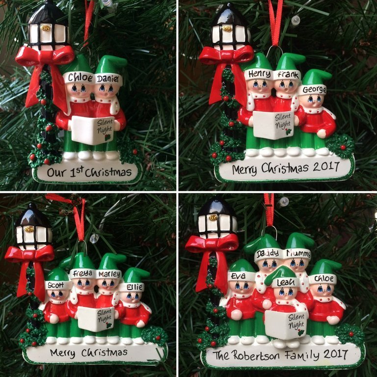 Christmas Carol Singers Ornaments.Carol Singing Family Personalised Christmas Tree Decoration