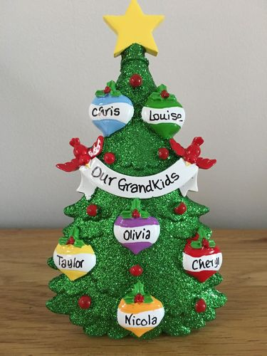 Green Tree Family of 6 Personalised Table Top Christmas Decoration