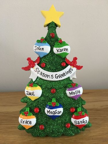 Green Tree Family of 7 Personalised Table Top Christmas Decoration