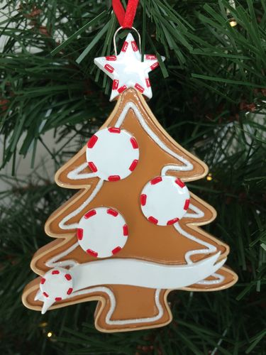 Gingerbread Tree Family of 3 Personalised Christmas Decoration