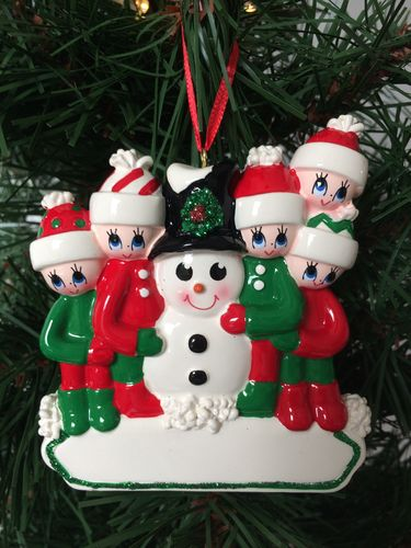 Making a Snowman Family of 5 Personalised Christmas Decoration