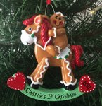 Gingerbread Rocking Horse Personalised Christmas Decoration