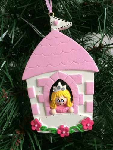 Princess in Castle Personalised Christmas Tree Decoration