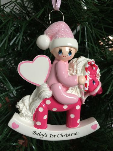 Baby's 1st Christmas Pink Rocking Horse Personalised Christmas Tree Decoration