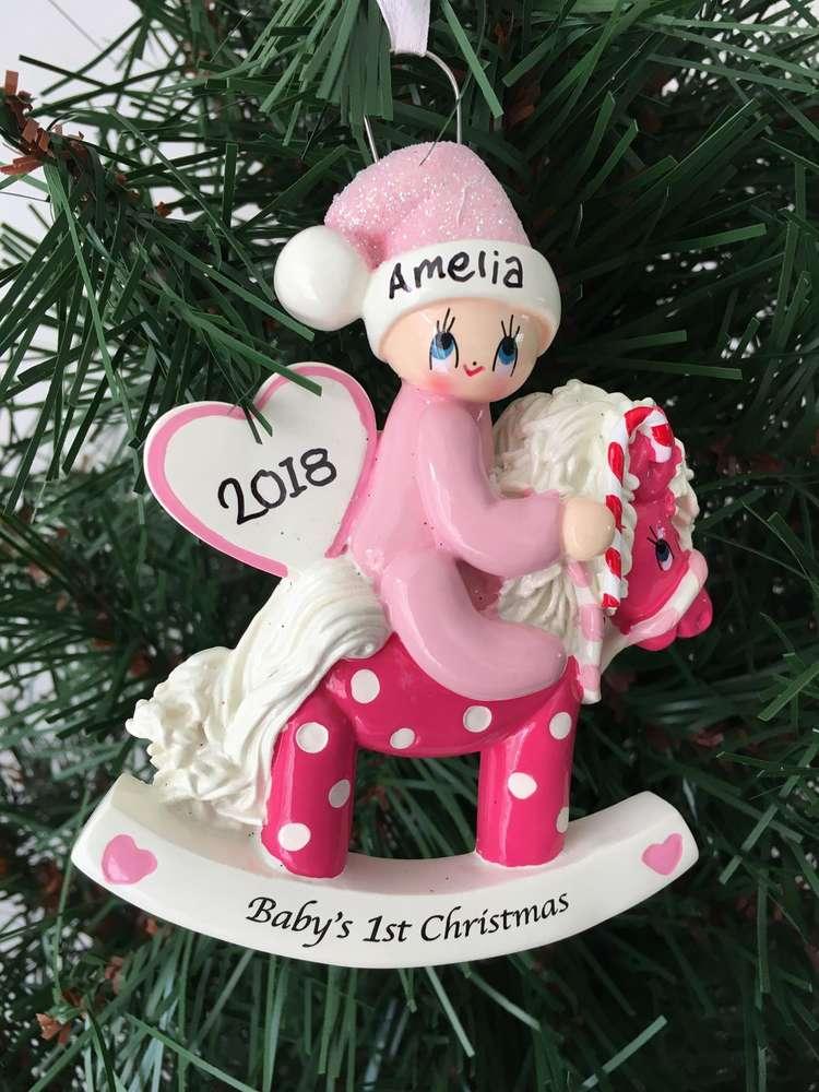 babys 1st christmas pink rocking horse personalised christmas tree decoration - Horse Christmas Decorations Uk