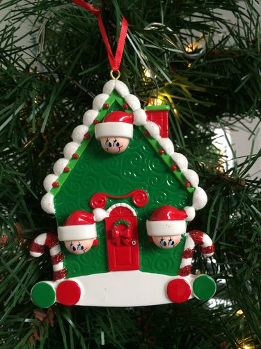 Candy Cane House Family of 3 Personalised Christmas Tree Decoration