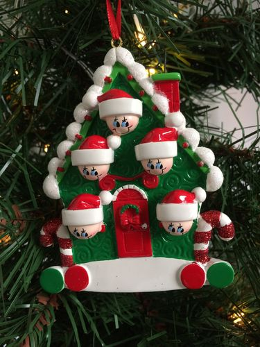 Candy Cane House Family of 5 Personalised Christmas Tree Decoration
