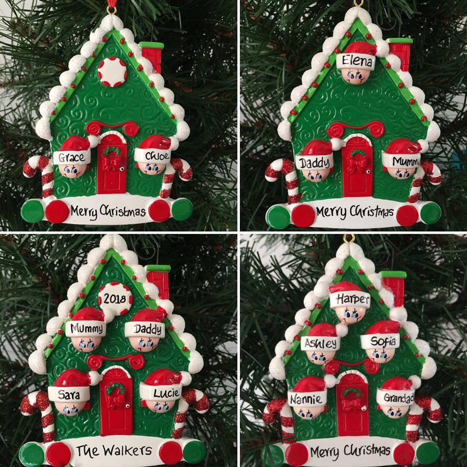 sale retailer 7e914 f2d2e Candy Cane House Family Personalised Christmas Tree Decoration