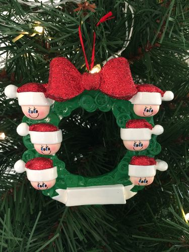 Button Wreath Family of 6 Personalised Christmas Tree Decoration