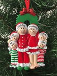 Christmas Eve Family of 6 Personalised Christmas Tree Decoration