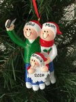 Selfie Family of 3 Personalised Christmas Tree Decoration