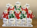 Snow People Family of 8 Personalised Table Top Christmas Decoration