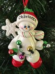 Snowman with Fairy Lights Personalised Christmas Decoration