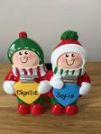 Christmas Lights Couple Personalised Table Top Christmas Decoration