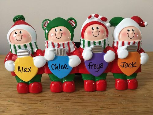 Christmas Lights Family of 4 Personalised Table Top Christmas Decoration