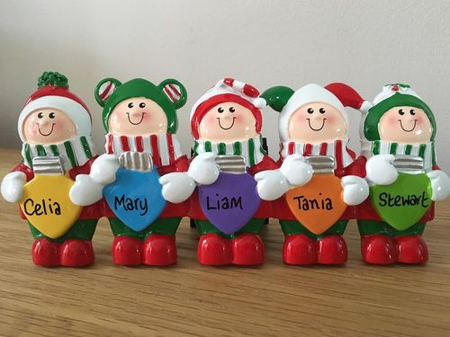 Christmas Lights Family of 5 Personalised Table Top Christmas Decoration