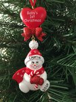 Snowman & Heart Baby's 1st Christmas Personalised Christmas Tree Decoration