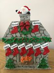 Cabin Fireplace Table Top Personalised Christmas Decoration