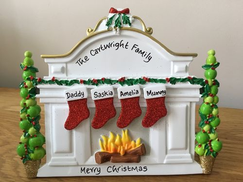 White Mantel Family of 4 Personalised Table Top Christmas Decoration