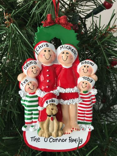 Christmas Eve Family of 6 in PJs + Dog Personalised Christmas Decoration