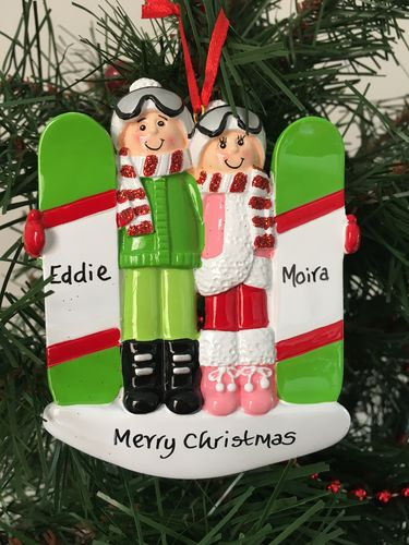 Snowboarding Couple Personalised Christmas Decoration