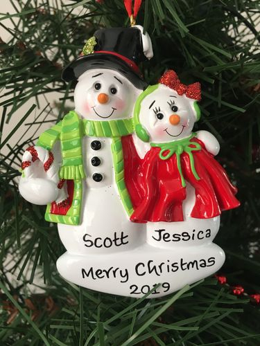 Hugging Snow Couple Personalised Christmas Decoration