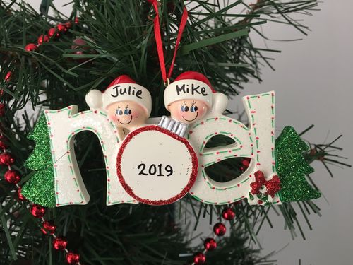 Noel Family of 2 Personalised Christmas Decoration