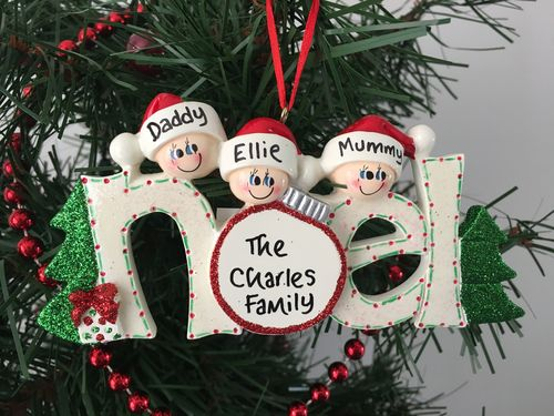 Noel Family of 3 Personalised Christmas Decoration