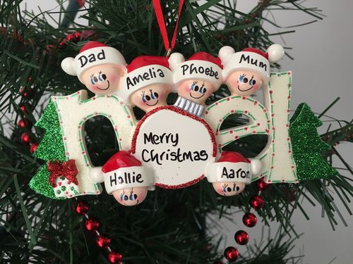 Noel Family of 6 Personalised Christmas Decoration