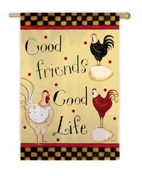 "Good Friends Good Life Roosters Large Garden Flag 29"" x 43"""