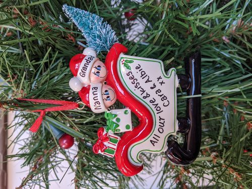Sleigh Family of 2 Personalised Christmas Decoration